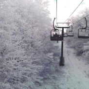 Snow covered ski lift at Timberline Mountain, West Virginia