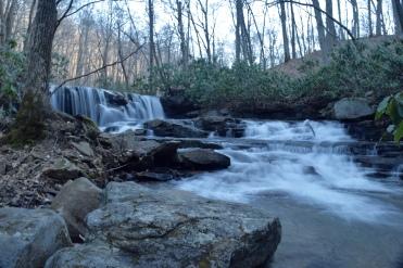 Waterfall, blue hue